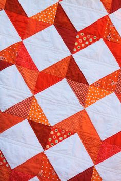 The Cottage Home: From Grandma with Love ~ Orange Chevron Quilt
