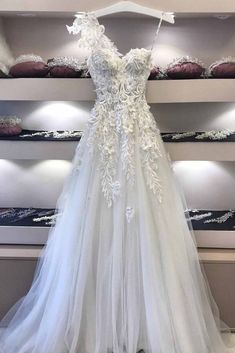 White lace V neck one shoulder long customize A-line formal dress, white tulle long prom dress #prom #dress #promdress #promdresses