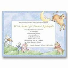 Baby Cat and the Fiddle Baby Shower Invitations