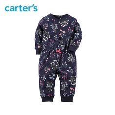 Carter's1件式蓝色长袖印花连体衣哈衣全棉女宝宝婴儿童装118G006-tmall.com天猫