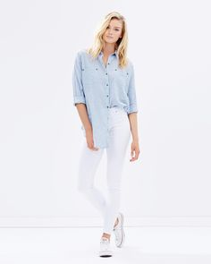 Millie High-Rise Jeans by Atmos&Here Online Iconic Australia, High Rise Jeans, White Jeans, Walking, City, Pants, Stuff To Buy, Tops, Women