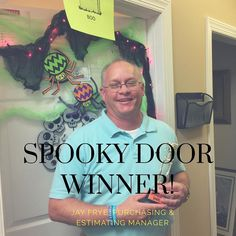 """...and the winner of our """"Door to be Spooky"""" contest is Jay Frye Purchasing and Estimating Manager! #bespooky #happyhalloween #teamspirit #iveyhomes Ivey Homes is a local Augusta GA home builder. Homes from the Low $100's to custom."""