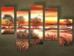 Ručne maľovaný obraz KRAJINA 5 dielny 4812FA