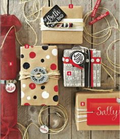 black and white and red all over on kraft paper