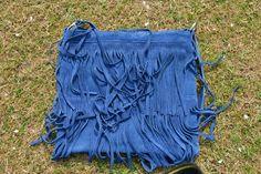 Blue Suede Fringe Satchel from http://mandysheaven.co.uk/ - Women's Fashion Boutique UK