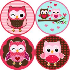 Cute Owl Happy Valentine Love Stickers Labels for Crafting, Wedding, Valentines Day, Envelope Seals, Scrapbooking