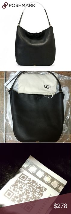 😀LAST PRICE DROP🎁UGG Purse 🌱Stunning  🌱Soft Black Leather Extremely soft!😊  🌱She's a Great Statement pc! You can put everything you need in toss on some Shorts Chucks & Tee with ur HoBo or a Casual Dress and She fits nice on arm!  🌱Worth every penny! NWT!  🎁Still in box from being shipped to me🎁  💟Last price drop! This is a 300$ Purse!💟😊 UGG Bags Hobos