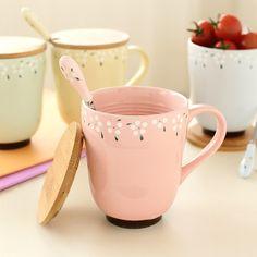 Ленивый керамическая кружка с крышкой углу сада цветочные керамические чашки молока чашки воды отправить чайную ложку 60153 - Taobao