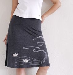 Handmade appliqué Jersey A-line skirt . Grey Knee Length Skirt - The creek and the paper boats - size Medium