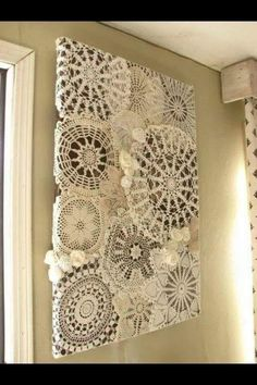 Very pretty use for crocheted doilies.