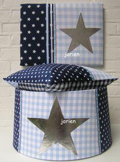 serie ster donkerblauw lichtblauw met zilveren ster applicatie