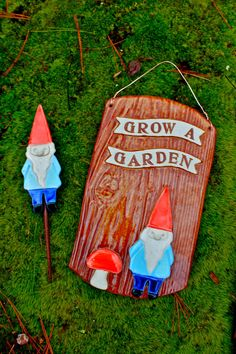 CustomMade Garden Gnome Plaque & Garden Stake by tashamckelvey, $100.00