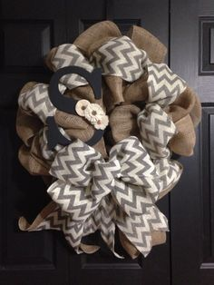 A personal favorite from my Etsy shop https://www.etsy.com/listing/160669085/burlap-monogram-wreath