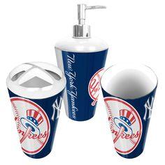 New York Yankees MLB Bath Tumbler, Toothbrush Holder & Soap Pump (3pc Set)