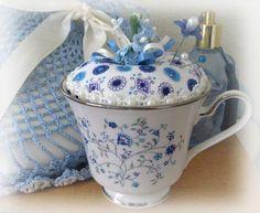Teacup Pincushion Noritake Serene Garden Tea cup by CharlotteStyle