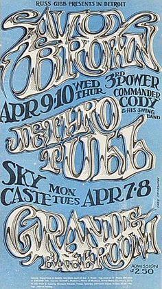 in 1969, Savoy Brown, 3rd Power, Commander Cody at the Grande Ballroom, rock handbill by GARY GRIMSHAW