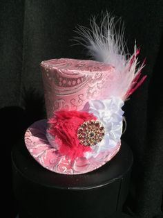Pink and Silver Brocade Mad Hatter Mini Top Hat by daisyleedesign