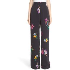 Women's Etro Bird & Floral Print Palazzo Pants ($855) ❤ liked on Polyvore featuring pants, black, wide leg palazzo pants, floral pants, floral print pants, elastic waistband pants and wide-leg trousers