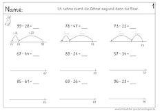 Lernstübchen: ZE-Zahlen minus ZE-Zahlen am Rechenstrich