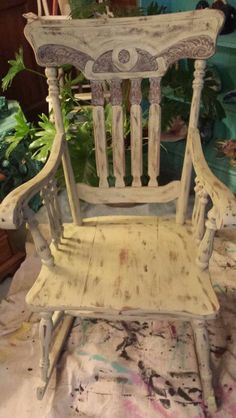 Sweet T's Custom Creations ..Shabby Chic rocking chair done in Withered Moss