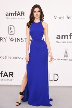 Fashion Event: Celebrities go super glam at amfAR's Cinema Against AIDS Gala during the Cannes Film Festival Check out all the looks! Gala Dresses, Red Carpet Dresses, Blue Dresses, Celebrity Gowns, Celebrity Look, Couture Looks, Red Carpet Looks, Red Carpet Fashion, Evening Gowns