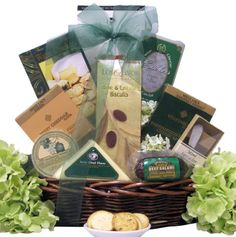 """Offer them some """"tempting cheese delights"""" with this wonderful gourmet cheese gift basket It is filled with a nice assortment of cheeses, crackers, meats, snacks and a non-alcoholic sparkling pear juice Even includes a wooden handled gift boxed cheese knife for them to keep well after the gourmet goodies are gone Great Arrivals Gourmet Cheese Gift Basket, Tempting Delights"""
