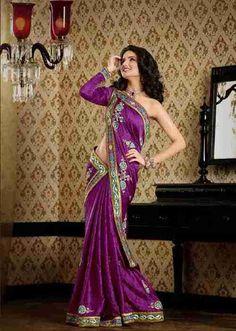 Chandrima Magenta Faux Crepe Luxury Party Wear Sari saree