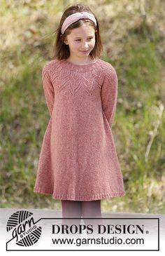 Knitting Patterns Free, Knit Patterns, Free Knitting, Baby Knitting, Girls Knitted Dress, Knit Baby Dress, Drops Design, Drops Patterns, Woodland Fairy