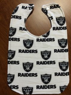 A personal favorite from my Etsy shop https://www.etsy.com/listing/247518519/oakland-raiders-baby-bib