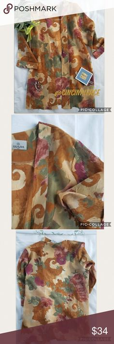 """KIMONO PRETTY EARTH TONES🌺 Really pretty kimono, adorable piece to layer, pairs well with solid turtle neck or top, with jeans. 🌺 armpit to armpit 24"""" 🌺shoulder down lenght 31""""🌺3/4 lenght sleeve 18 1/2"""". No tag for size, fit a small or medium framed lady🌺 SSADA Accessories Scarves & Wraps"""