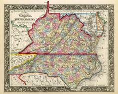 """Antique Carolina  & Virginias  map...   """"Back home"""" - Hardy County WV & Rockingham County VA"""