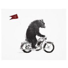 Motorcycle Bear print for Land of Nod