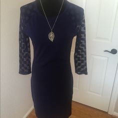 NWOT Navy Express Dress NWOT Express Dress Blue with Lace Polka Dot 3/4 sleeves and a zip back. No tags/ Never worn Express Dresses Mini
