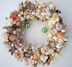 Beach Decor Seashell Wreath - Nautical Decor Shell Wreath w Starfish, Fully Covered on Etsy, $100.00