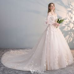 Elegant Champagne Wedding Dresses 2017 Ball Gown Off-The-Shoulder 3/4 Sleeve Backless Appliques Flower Pearl Sequins Chapel Train