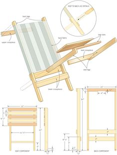 Ted's Woodworking Plans - c Folding beach chair woodworking plans - WoodShop Plans. Easy to make deck chair. Get A Lifetime Of Project Ideas & Inspiration! Step By Step Woodworking Plans Popular Woodworking, Woodworking Jigs, Woodworking Furniture, Furniture Plans, Wood Furniture, Woodworking Projects, Woodworking Classes, Wood Projects, Woodworking Nightstand