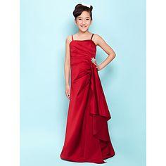 Floor-length+Satin+Junior+Bridesmaid+Dress+A-line+/+Princess+Spaghetti+Straps+Natural+withCascading+Ruffles+/+Crystal+Brooch+/+Side+–+USD+$+79.99