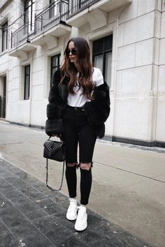 5867e7c2385 Black fur outfit and Alexander McQueen sneakers