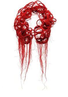 Valentina Caprini Roxene Necklace 2000 Meters of Red Thread, Pills 2012 23 x 23 x 7 Textile Jewelry, Fabric Jewelry, Textile Art, Jewelry Art, Textiles, Body Adornment, Passementerie, Neck Piece, Fabric Manipulation