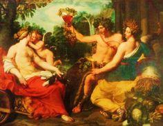 'Ceres, Bacchus en Venus' door Abraham Janssens uit 1610. Cers is de godin van de landbouw en de vruchten, Bacchus is de god van de wijn en Venus is de godin van de liefde. Dit verwijst naar het spreekwoord 'zonder Ceres en Bacchus bevriest Venus', oftewel zonder eten en wijn bekoelt de liefde. De strekking is: geniet van het leven en de liefde.