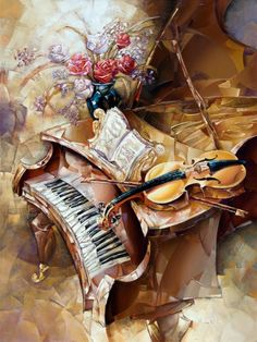 - Grand Piano and Violin by Brutsky Art Piano Y Violin, Piano Art, Motif Music, Music Images, Arte Pop, Sound Of Music, Black Art, Les Oeuvres, Art Boards