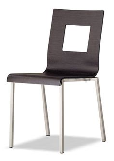 """""""Kuadra Wud Geo Geometric shapes a stackable chair, with oak veneered multilayer shell stained weng with square hole on the back. Please contact us for pricing Wood Chairs, Dining Room Chairs, Restaurant Furniture, Bar Furniture, Stackable Chairs, Geometric Shapes, Shell, Home Decor, Wooden Chairs"""