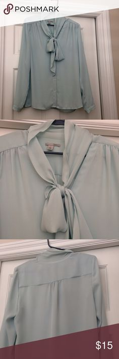 Halogen Bow tie blouse Adorable semi-sheer flows dress shirt perfect for any occasion! EUC, worn once or twice to work Nordstrom Tops Blouses