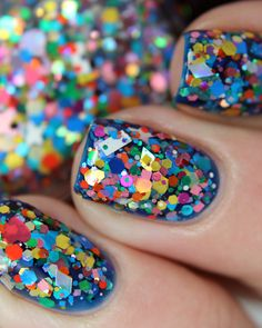 Emily de Molly 'Remnants Returned' over an electric blue base Gorgeous Nails, Love Nails, Pretty Nails, Nail Stamping Designs, Indie Makeup, Beautiful Person, Electric Blue, Sprinkles, Finger