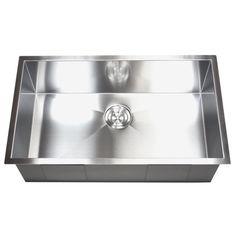 Stainless Steel Single Zero Bowl Undermount Kitchen Sink - Overstock™ Shopping - Great Deals on Kitchen Sinks