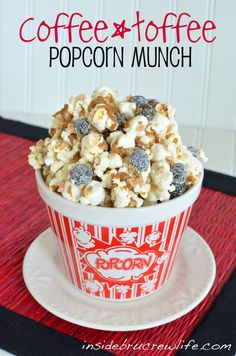 COFFEE TOFFEE POPCORN MUNCH http://insidebrucrewlife.com/2012/08/coffee-toffee-popcorn-munch/