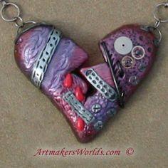 My steampunk heart is broken in polymer clay