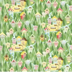 Hideaway Town Print...  All sorts of secrets are hidden inside.  A chimney sweep, little kids playing in a creek, deer, a wishing well, a quilt on a clothes line, a man fishing, and a little white dog named Rudy.  :)  Because we love him.