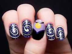Love this Little Mermaid-themed Ursula Halloween nail art idea.