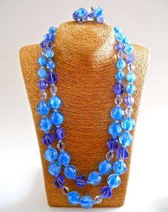 ALICE CAVINESS Blue Necklace Earrings Set Glass by RenaissanceFair